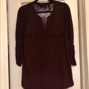 INC maroon pullover utility blouse